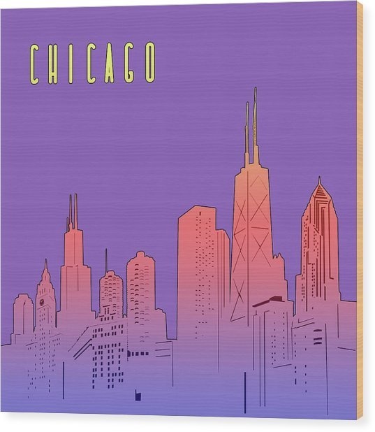 Chicago Skyline Panorama Purple Wood Print