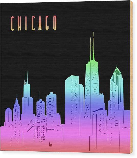 Chicago Skyline Panorama Rainbow Wood Print