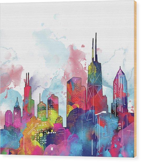 Chicago Skyline Panorama Watercolor 2 Wood Print