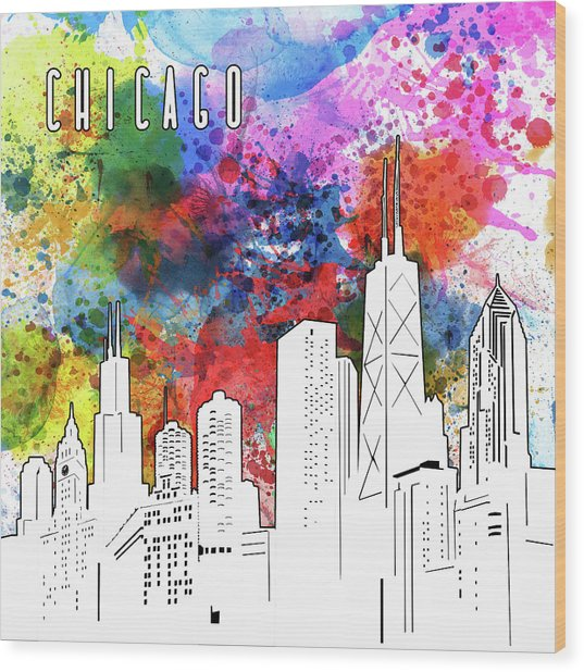 Chicago Skyline Panorama Watercolor Wood Print