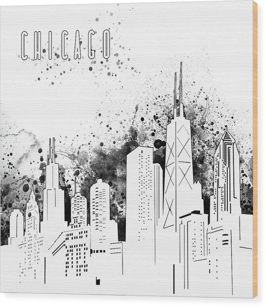 Chicago Skyline Panorama White Wood Print