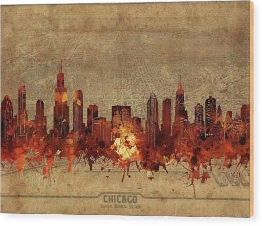 Chicago Skyline Vintage 2 Wood Print