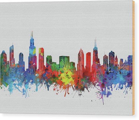 Chicago Skyline Watercolor 2 Wood Print
