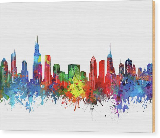 Chicago Skyline Watercolor Wood Print
