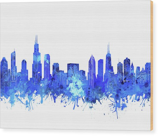 Chicago Skyline Watercolor Blue Wood Print