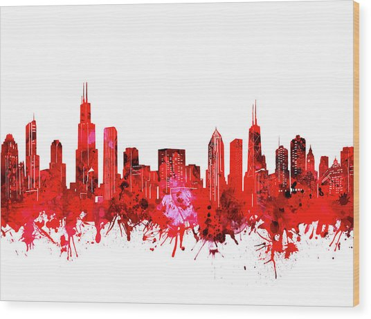 Chicago Skyline Watercolor Red Wood Print