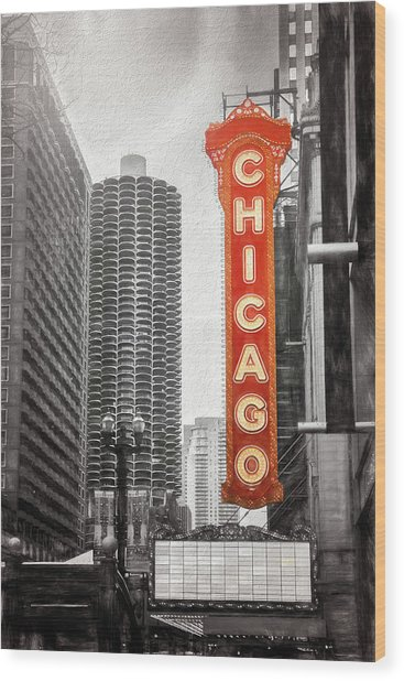 Chicago Theatre Sign Chicago Black And White Wood Print