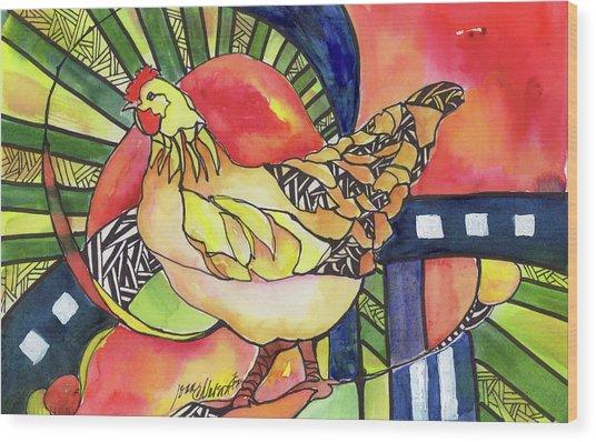 Chicken Red Wood Print