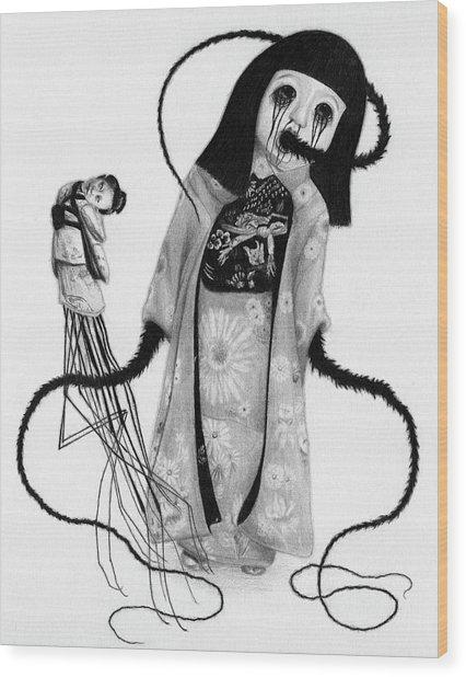 Chikako The Doll Girl Of Kanagawa - Artwork Wood Print