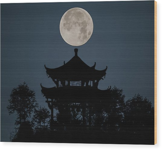 Wood Print featuring the photograph China Moon by William Dickman