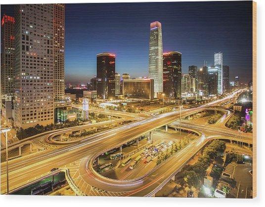 China World Trade Center Wood Print by Dukai Photographer