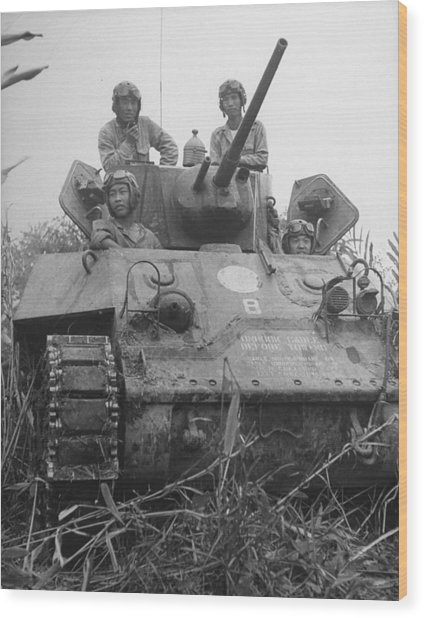 Chinese Army In Tank During Burma Campaign Wood Print by William Vandivert