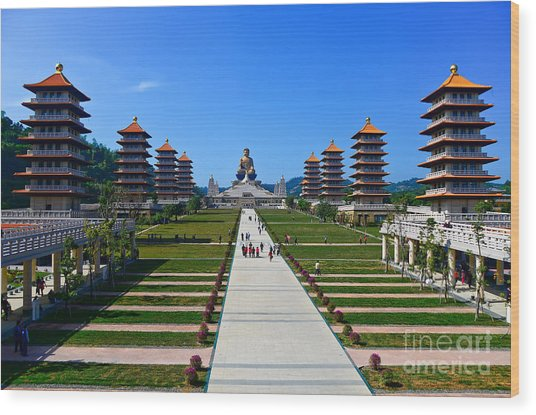 Chinese Temple And Golden Buddha Statue Wood Print