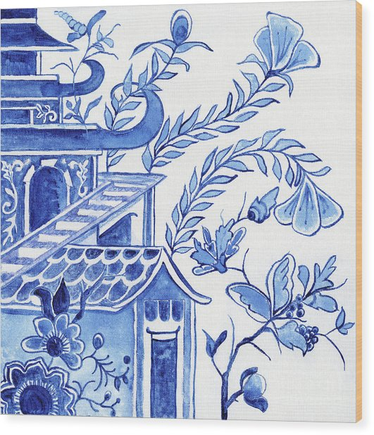 Chinoiserie Blue And White Pagoda Floral 1 Wood Print