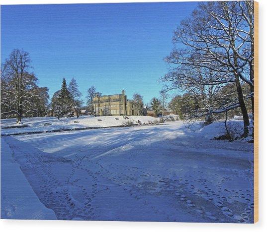Chorley. Astley Hall In The Snow Wood Print