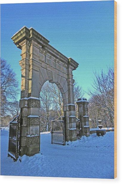 Chorley. Gates In The Snow Wood Print