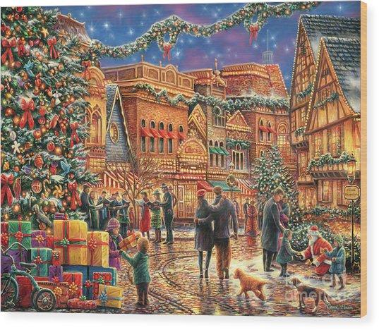 Christmas At Town Square Wood Print
