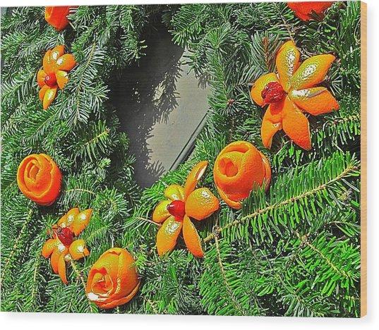 Christmas Citrus Wood Print