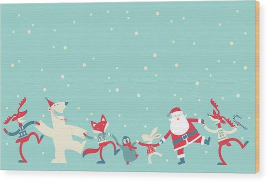 Christmas Dancing Wood Print by Akindo