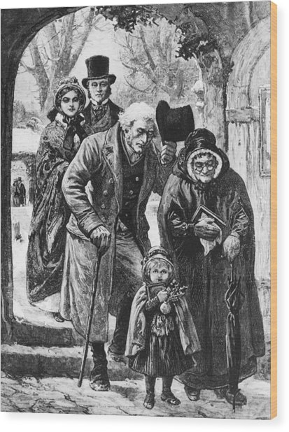 Christmas Day Service Wood Print by Hulton Archive