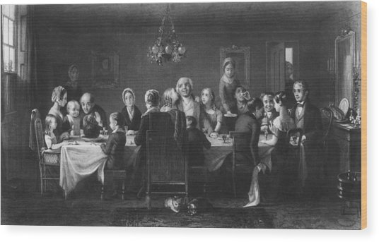 Christmas Dinner Wood Print by Hulton Archive