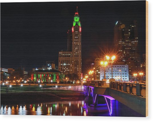 Christmas In Downtown Columbus Ohio Wood Print