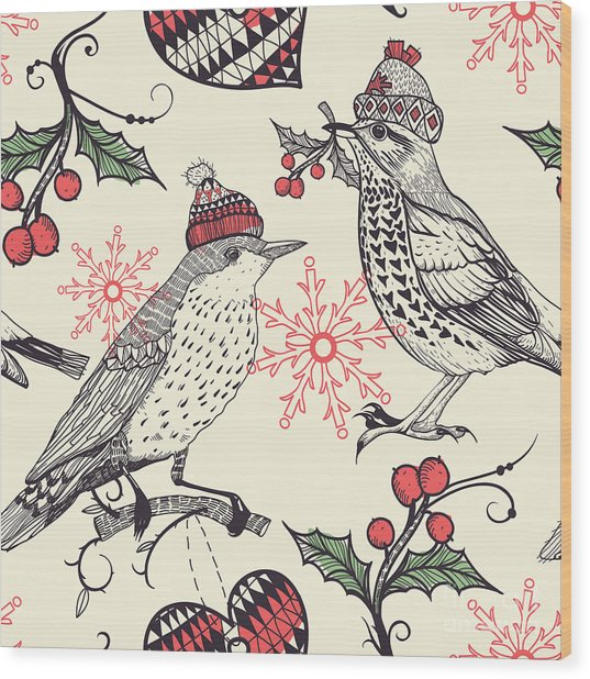 Christmas Vector Seamless Pattern With Wood Print