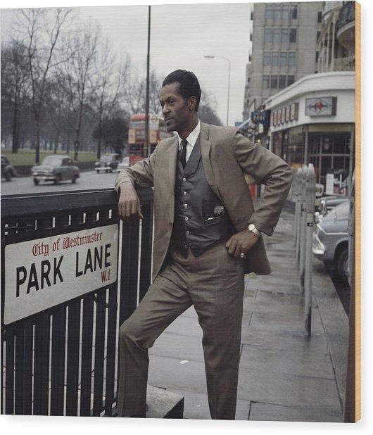 Chuck Berry On Park Lane Wood Print