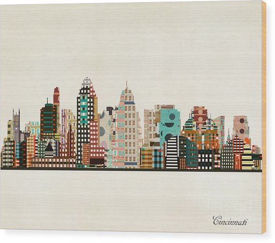 Cincinnati Ohio Skyline Wood Print by Bri Buckley