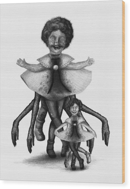 Cindy And Her Monstrous Doll - Artwork Wood Print