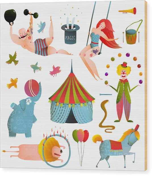 Circus Carnival Show Clip Art Vintage Wood Print