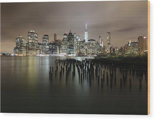 City Lit Up At Night Wood Print by Damien Gavios / Eyeem
