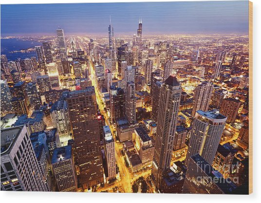City Of Chicago. Aerial View  Of Wood Print