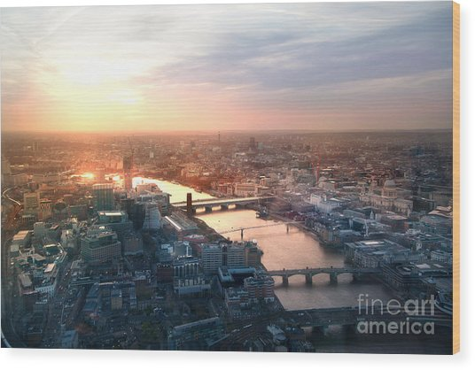 City Of London Panorama In Sunset Wood Print