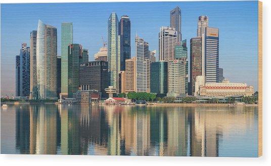 City Skyline - Singapore After Sunrise Wood Print by Hadynyah