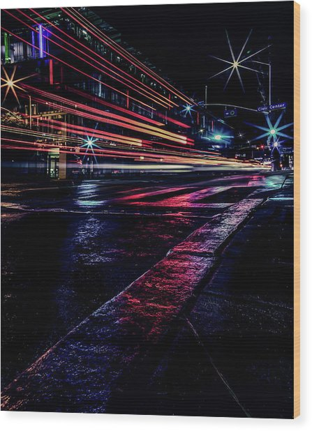 City Streaks Wood Print