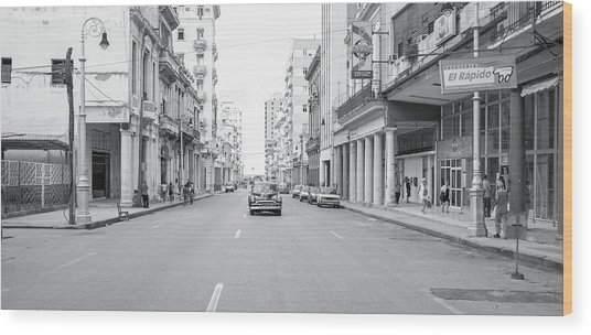 City Street, Havana Wood Print