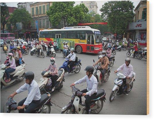 City Traffic At Rush Hour, Hanoi Wood Print by Grant Faint