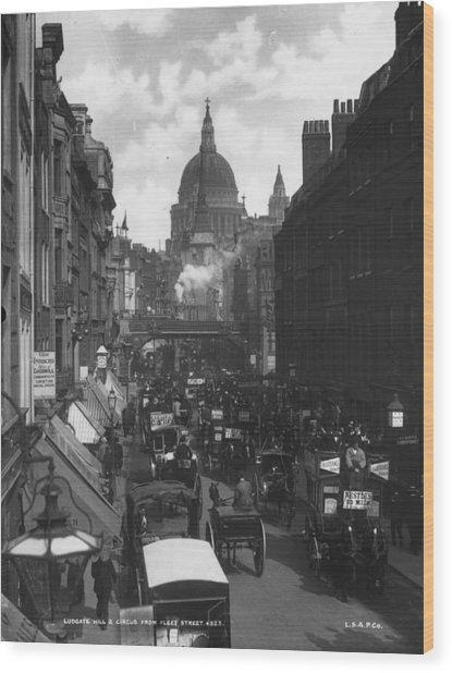 City Traffic Wood Print by London Stereoscopic Company