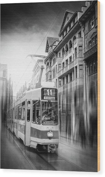 City Tram Basel Switzerland Black And White Wood Print
