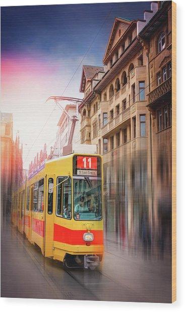 City Tram Basel Switzerland Wood Print