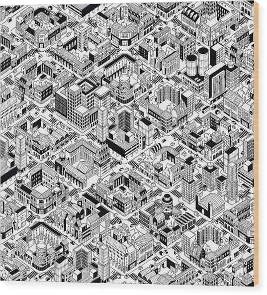 City Urban Blocks Seamless Pattern Wood Print by Vook