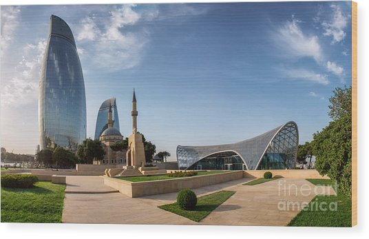 City View Of The Capital Of Azerbaijan Wood Print