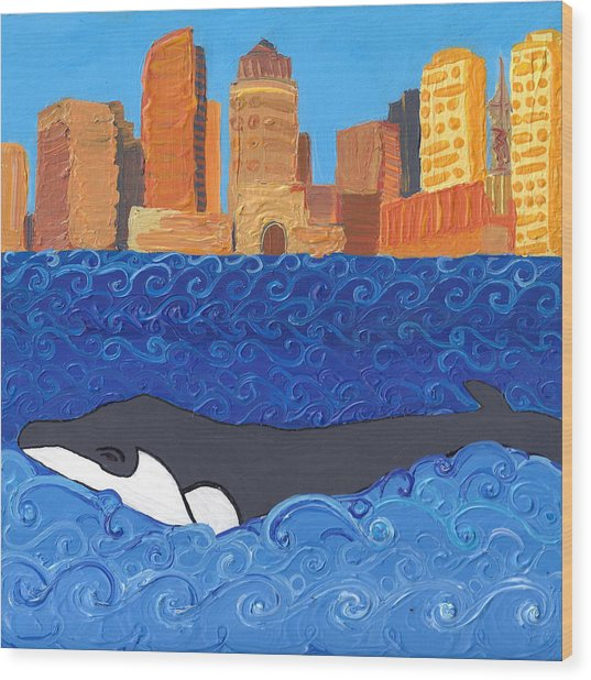 City Whale Wood Print