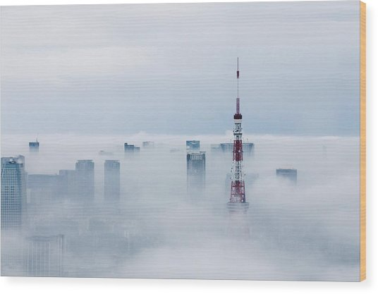 Cityscape And Tokyo Tower Covered In Wood Print by Tomoaki Nozawa / Eyeem