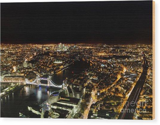 Cityscape Of London At Night Wood Print