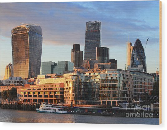 Cityscape Of London At Night, United Wood Print