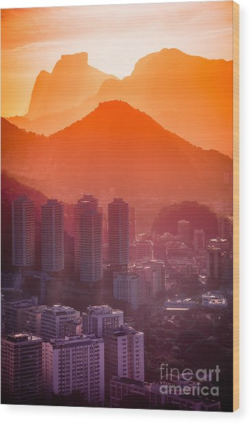 Cityscape With Mountain Range In The Wood Print