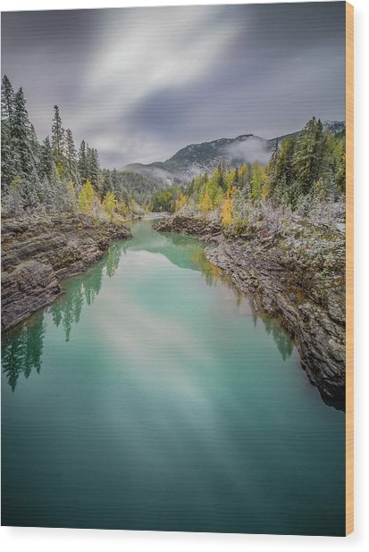 Clash Of Seasons / Flathead River, Glacier National Park  Wood Print