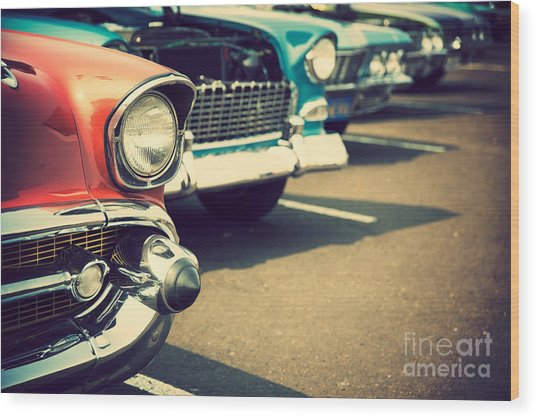Classic Cars In A Row Wood Print